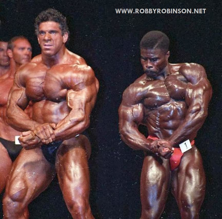 "Robby Robinson at the first Mr Olympia 1994 Masters winning over the mighty Lou ""The Hulk"" Ferrigno ● www.robbyrobinson.net//dvd_master_class.php ●"