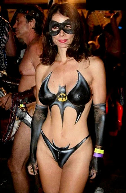 Halloween bodypaint women Costumes sexy batman bikini