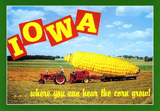 Cheesy Iowa farm postcard
