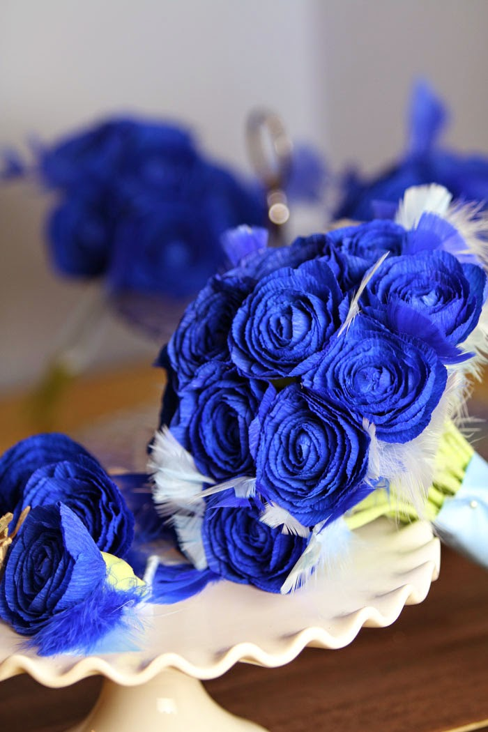 royal blue wedding bouquet paper