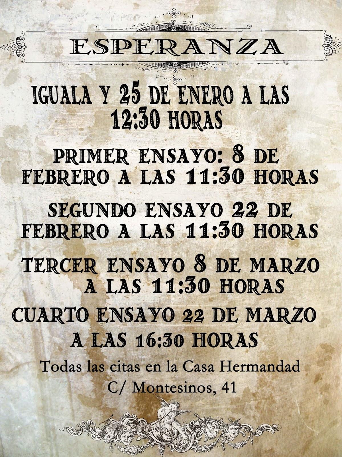 Calendario Ensayos Esperanza