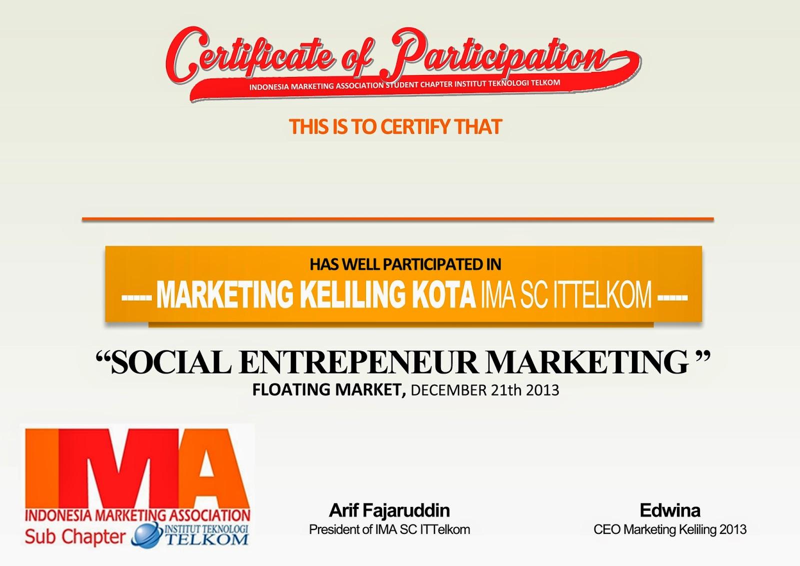 sertifikat peserta marketing keliling ima sertifikat pembicara plakat ...