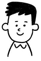 ■の表情のイラスト(通常)白黒線画