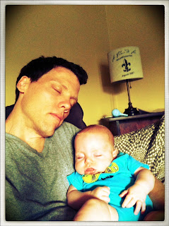 father and son napping