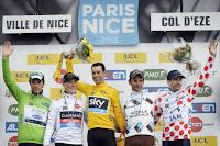 Podio final con Richie Porte, Talansky, Peraud, Chavanel (puntos) y Tschopp (montaña)
