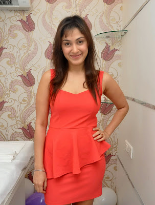 Manjari+(25) Manjari Phadnis Super Hot Photos in Red Dress At The Launch Of Naturals Family Salon & Spa