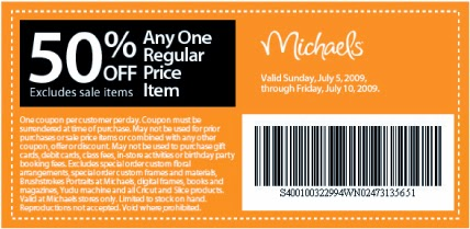 Michaels electronic coupons