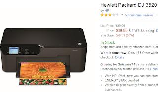 Hewlett-Packard Deskjet 3520 All-in-One Printer from Amazon
