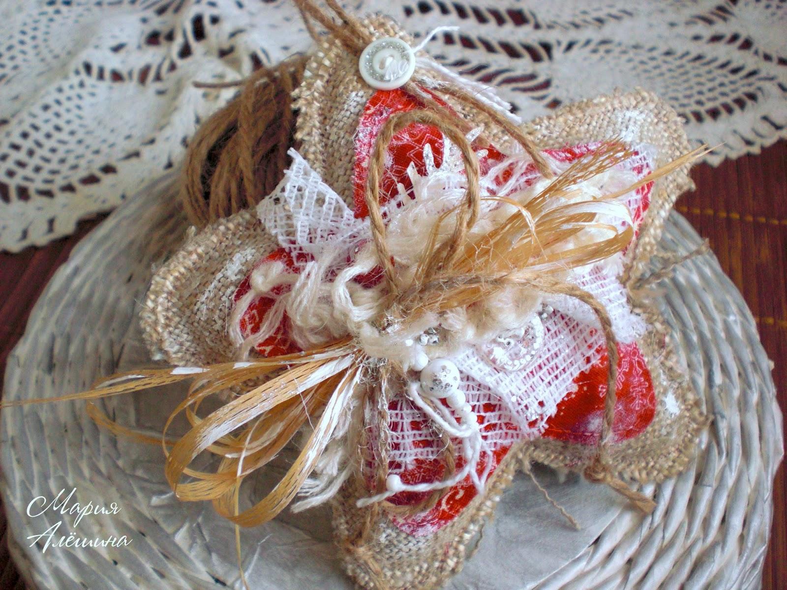 новогодняя звезда, игрушка, текстильная