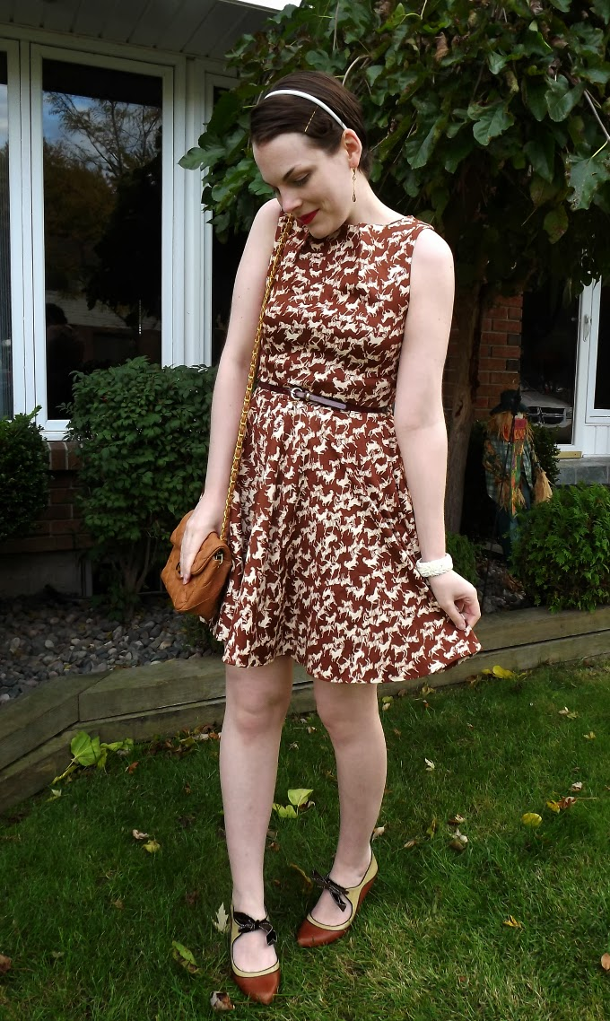 Modcloth dress, modcloth.com, Luck Be a Lady in Equine Dress, horse printed dress, brown dress, equestrian style, closet brand, fit and flare, ladylike style, quilted brown purse, Poetic License shoes, Suzanne Amlin, Windsor Ontario fashion blogger, A Coin For the Well