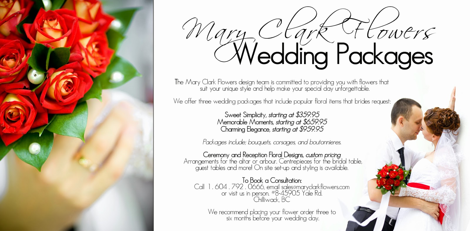 Mary Clark Flowers Wedding Flower Packages email: sales@maryclarkflowers for package