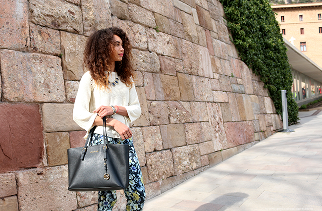 Blue printed trousers and Michael Kors bag