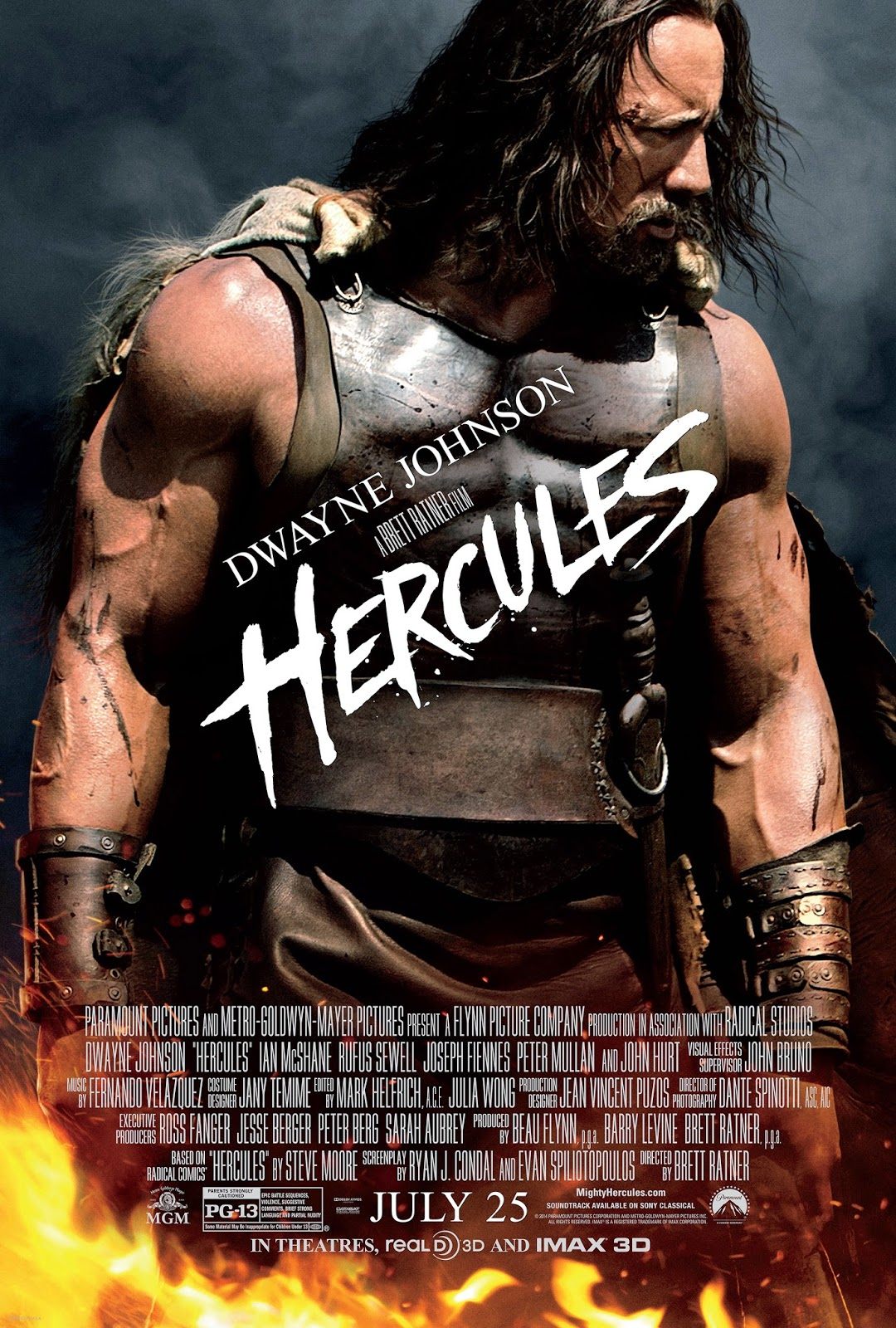 RatedPG-13  Epic Battle Sequences  Violence  Suggestive Comments    Dwayne Johnson Hercules Movie Poster