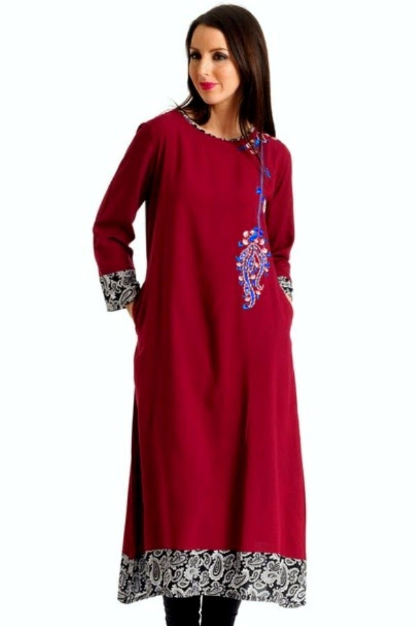 Latest kurti collection 2014 for eid long kurti with jeans for eid