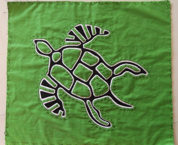 mola, mola art, mola panama art, green mola mola turtle