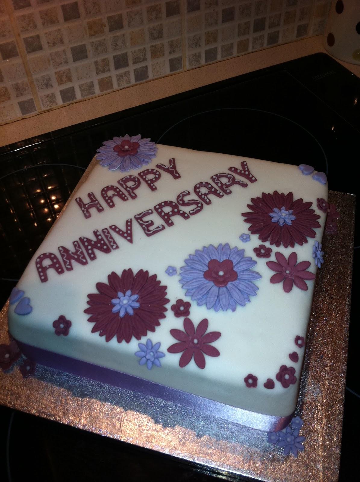Jemmalinas Purple Flower Anniversary Cake