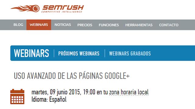 webminar gratuito sobre uso profesional de páginas Google Plus (avanzado)