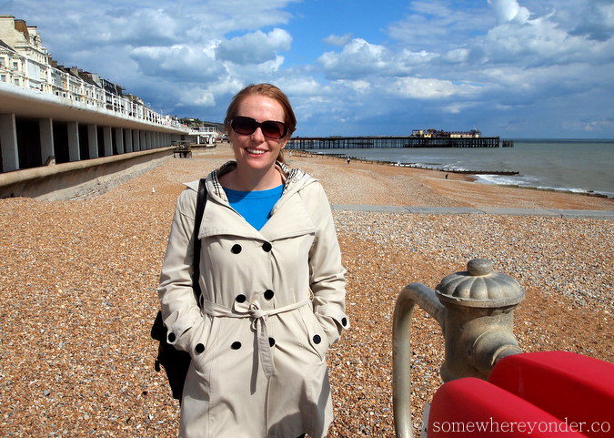 Strolling down Hastings Beach, England