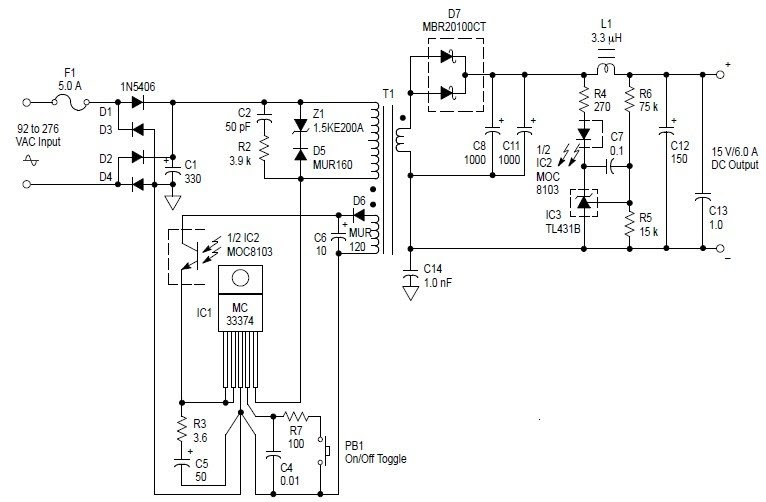 free circuit diagrams  switching power supply 90watt