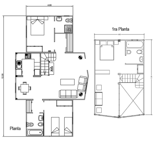 Casas de madera en espa a plano casa de madera 102 m2 - Planos de casas de madera de una planta ...
