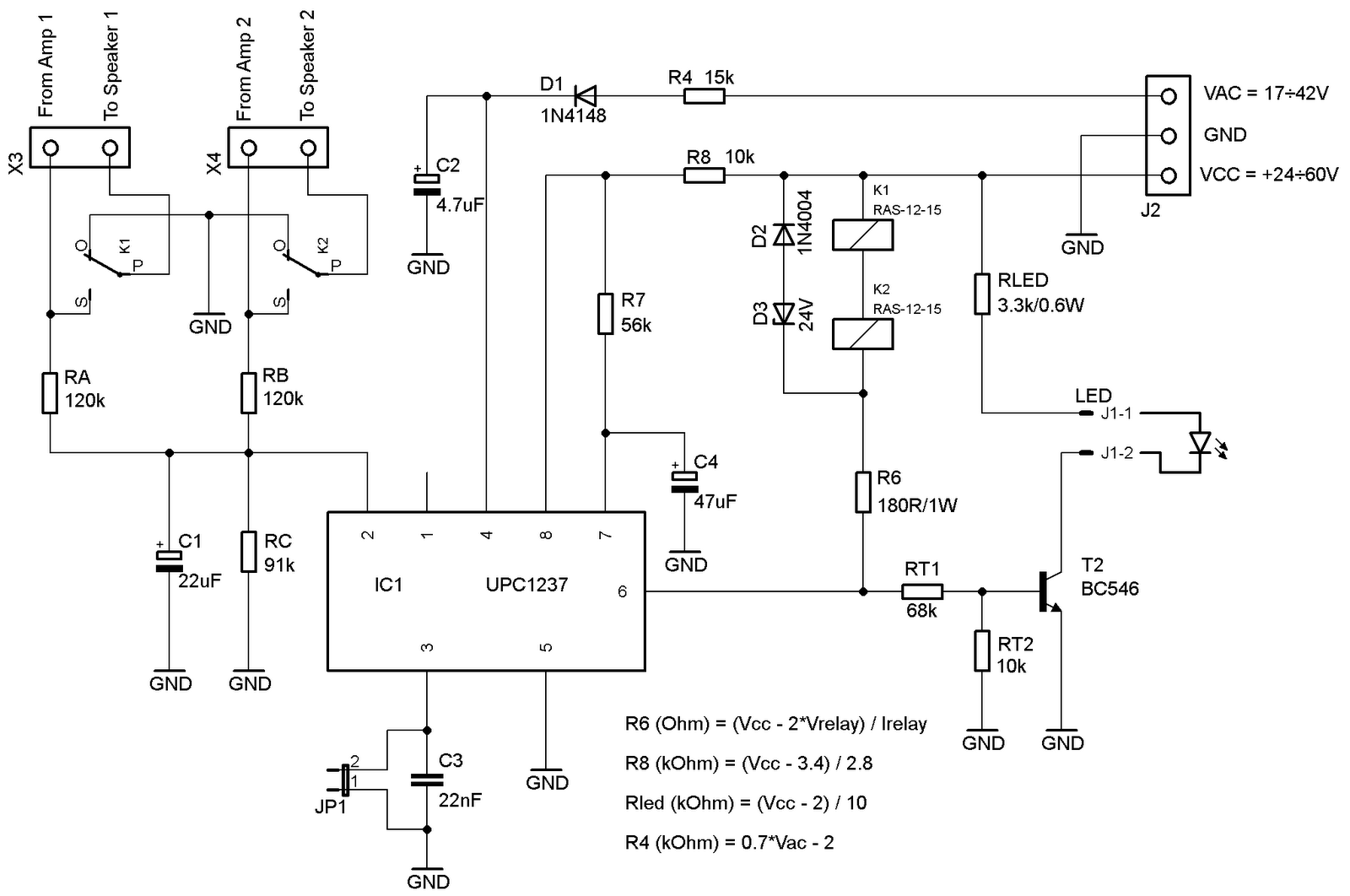 speaker protection circuit diagram short circuit
