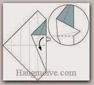 Bước 7: Từ vị trí mũi tên, mở lớp giấy ra, kéo và gấp lớp giấy xuống dưới.