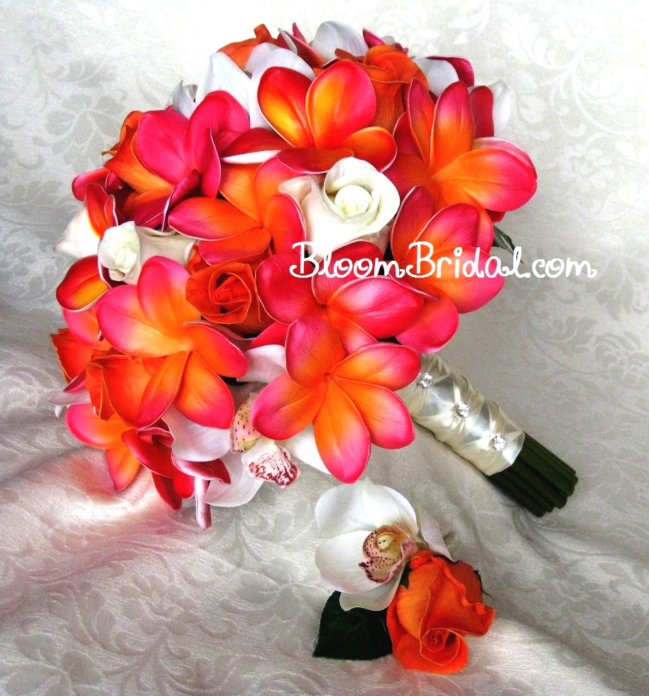 Fake Wedding Flowers Frangipanis : Bridal bouquet tropical wedding flower