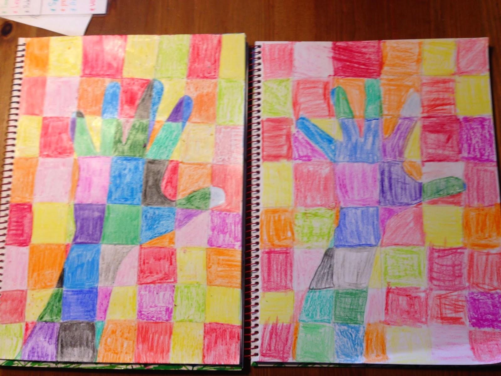 De miniklas een blog over thuisonderwijs art onze hand in warme en koude kleuren - Koude en warme kleur ...