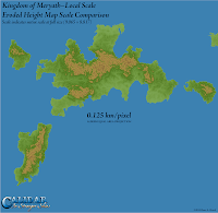 Kingdom of Meryath, Calidar, Eroded Height Map Local Scale, Albers Equal Area Projection