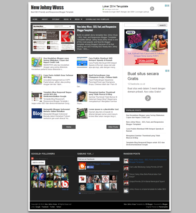 New Johny Wuss - SEO, Fast, and Responsive Blogger Template