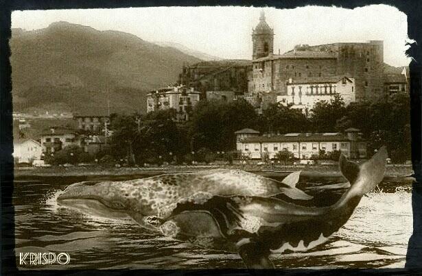 fotomontaje de ballenas cerca de hondarribia como foto antigua