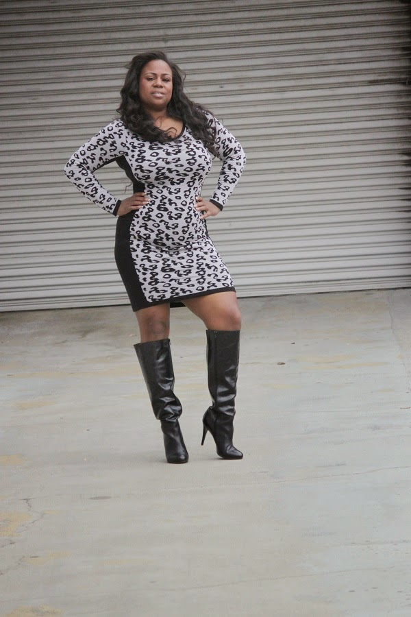 Leopard Print Sweater Dress and Aldo Black Leather Boots-Fall Fashion- Mahogany Closet