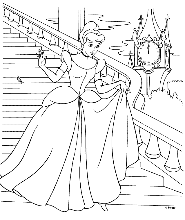 Cinderella colouring pages