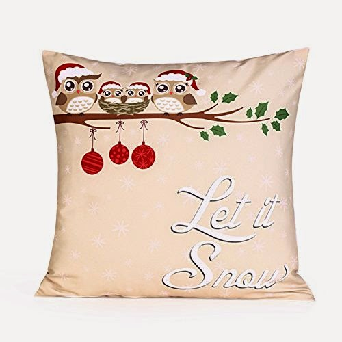 Square Throw Pillow Case ,Happy Christmas Owl