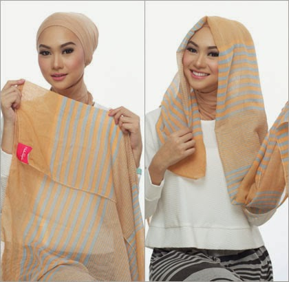 langkah 1 - 5 Cara Memakai Jilbab dengan Scarf Panjang ala Si Cantik Nada Puspita