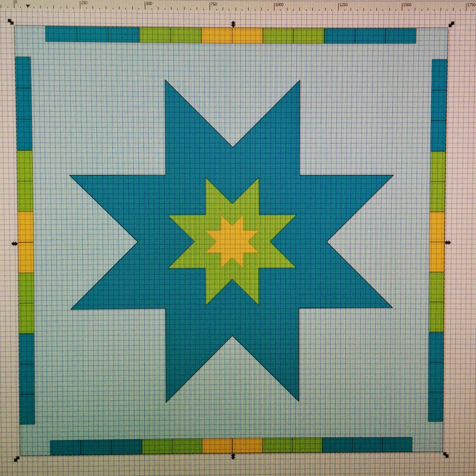 star in star wedding quilt progress 3