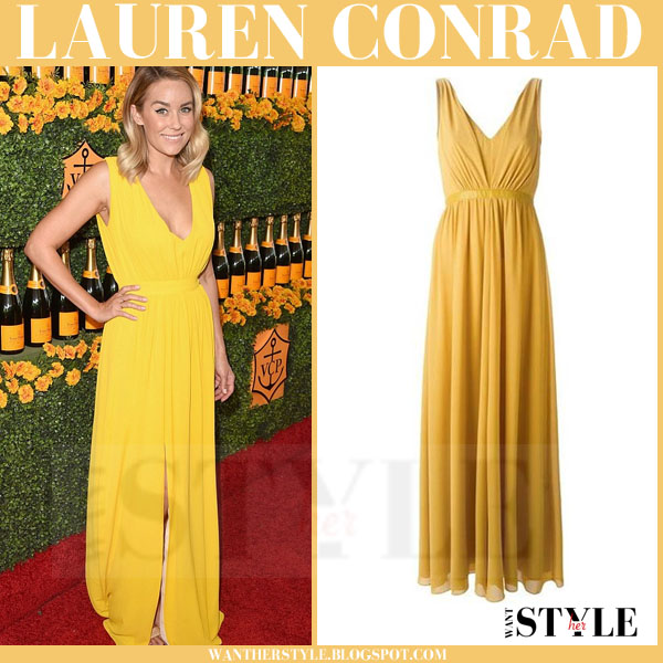 Lauren Conrad in yellow maxi saloni renee dress what she wore red carpet