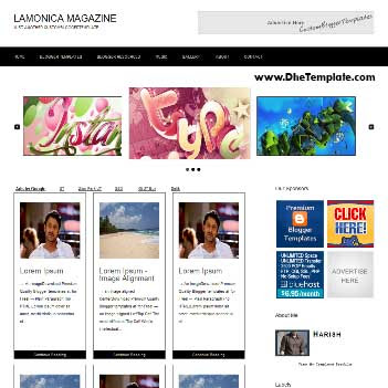 Lamonica Magazine blogger template. slideshow template blog. pagination for blogger template. magazine style blog template. template blog form wordpress theme