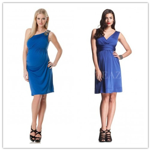 short blue maternity bridesmaid dresses