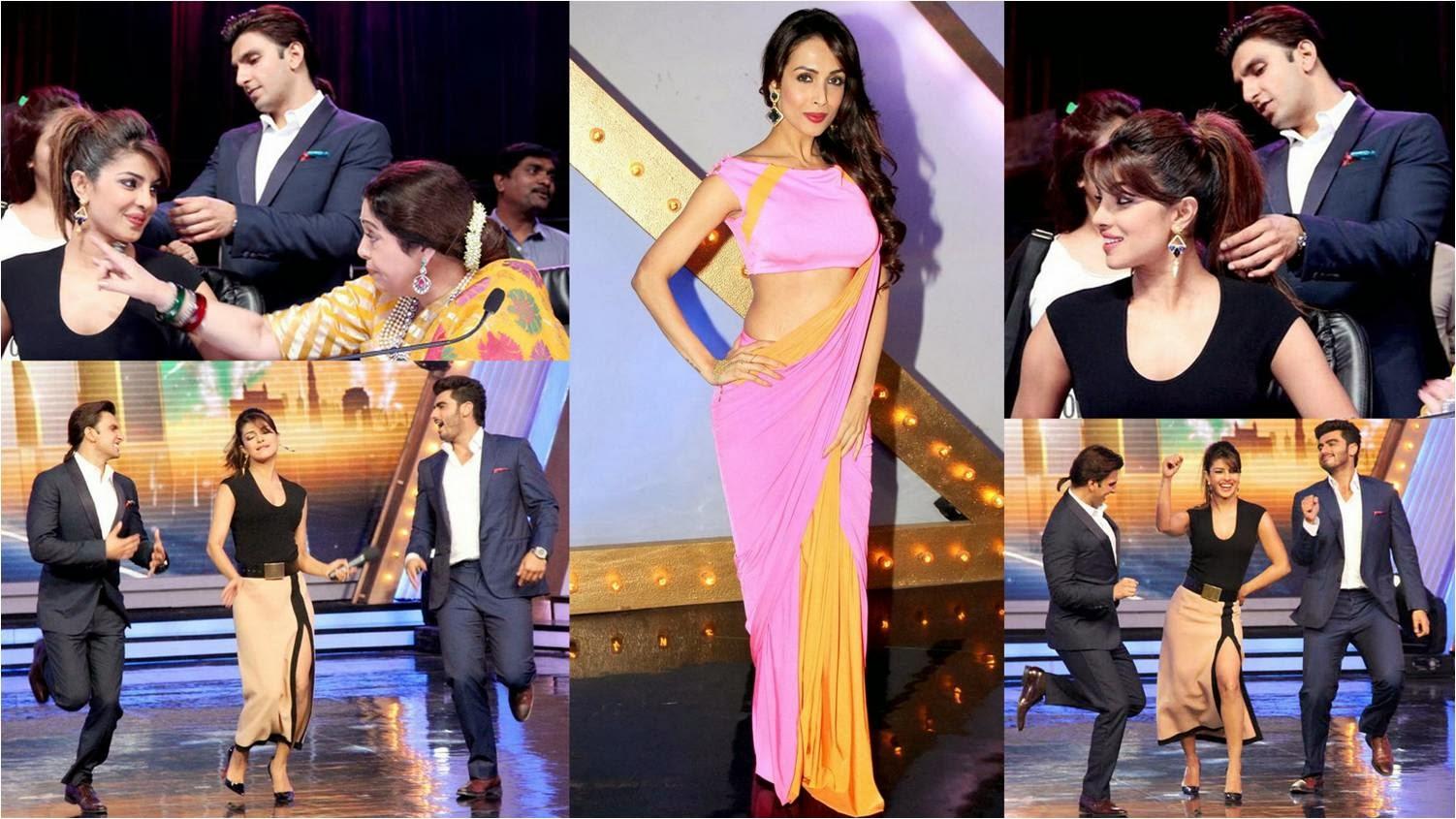 Arjun Kapoor, Priyanka Chopra and Ranveer Singh at India's Got Talent with Malaika and Kiran Kher