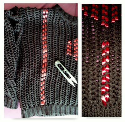 Jak ozdobić stary czarny ażurowy sweterek. Burgundowy sweter