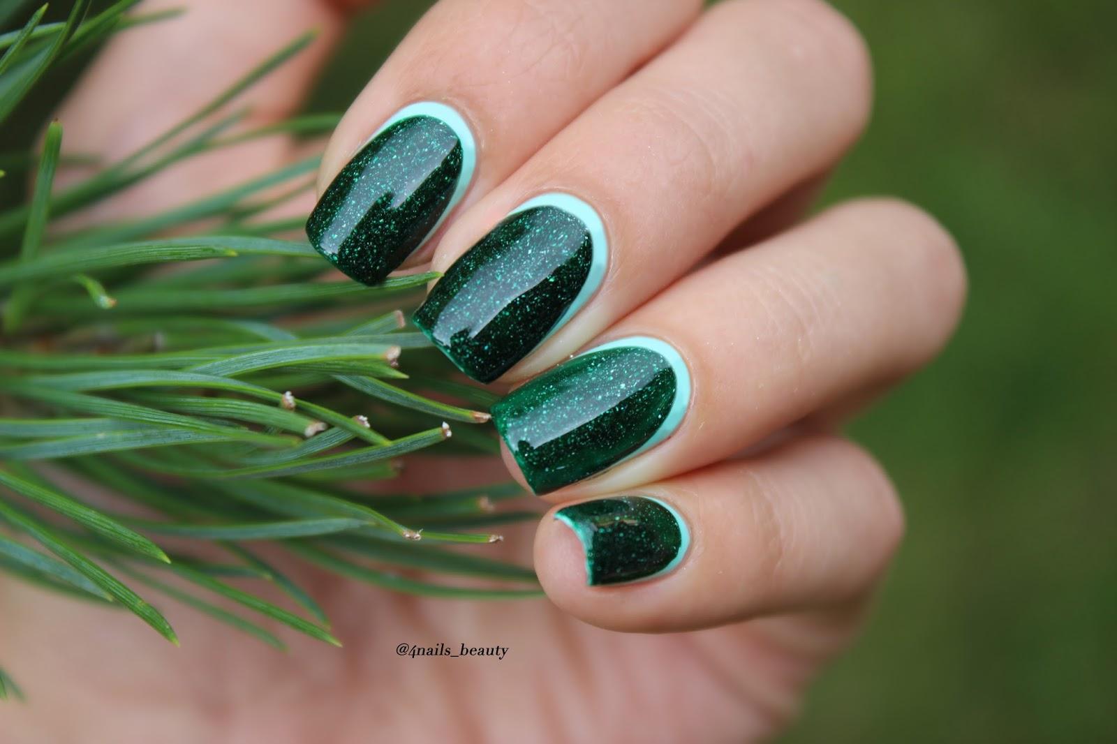 Маникюр к темно зеленому платью фото