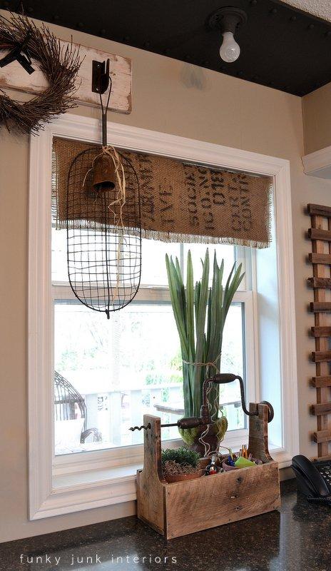 Curtains Ideas burlap sack curtains : My $7.00 burlap coffee bean sack window shades - Funky Junk ...