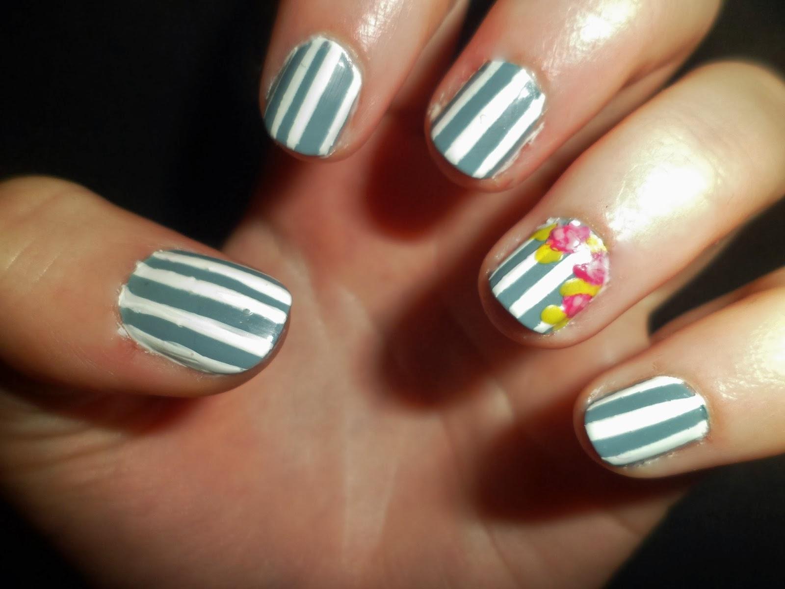 Flowers Roses Nails Art Stripes