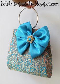 Biru Tosca Clutch Bag Tas Pesta Sari India Handmade Mewah Elegant