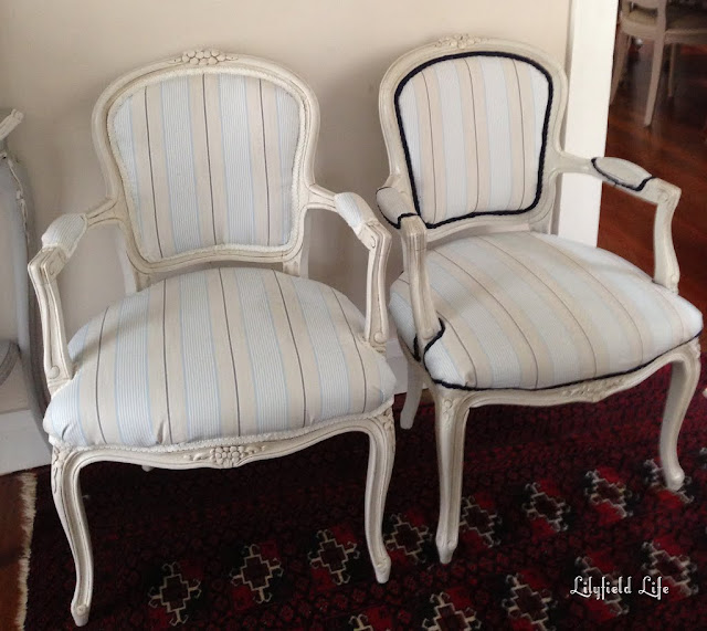 Pair of upholstered French Louis Armchairs for sale by Lilyfield Life