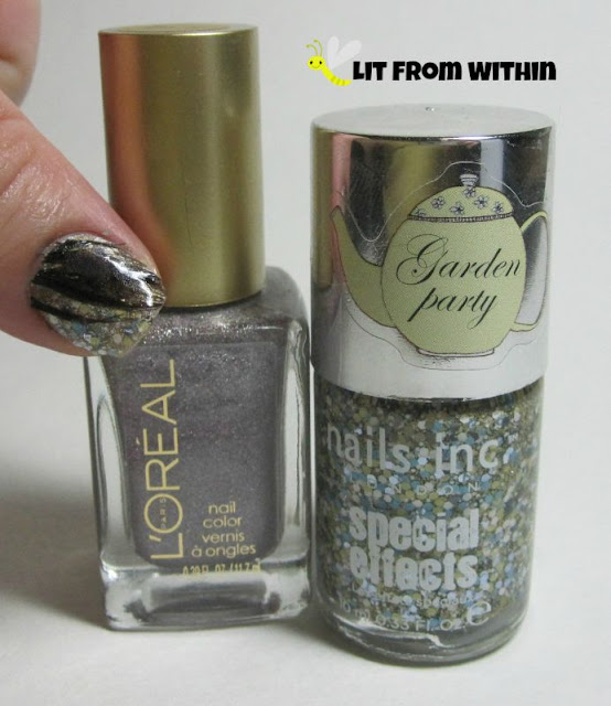 Bottle shot:  L'Oreal Masked Affair, and Nails Inc Princes Garden.