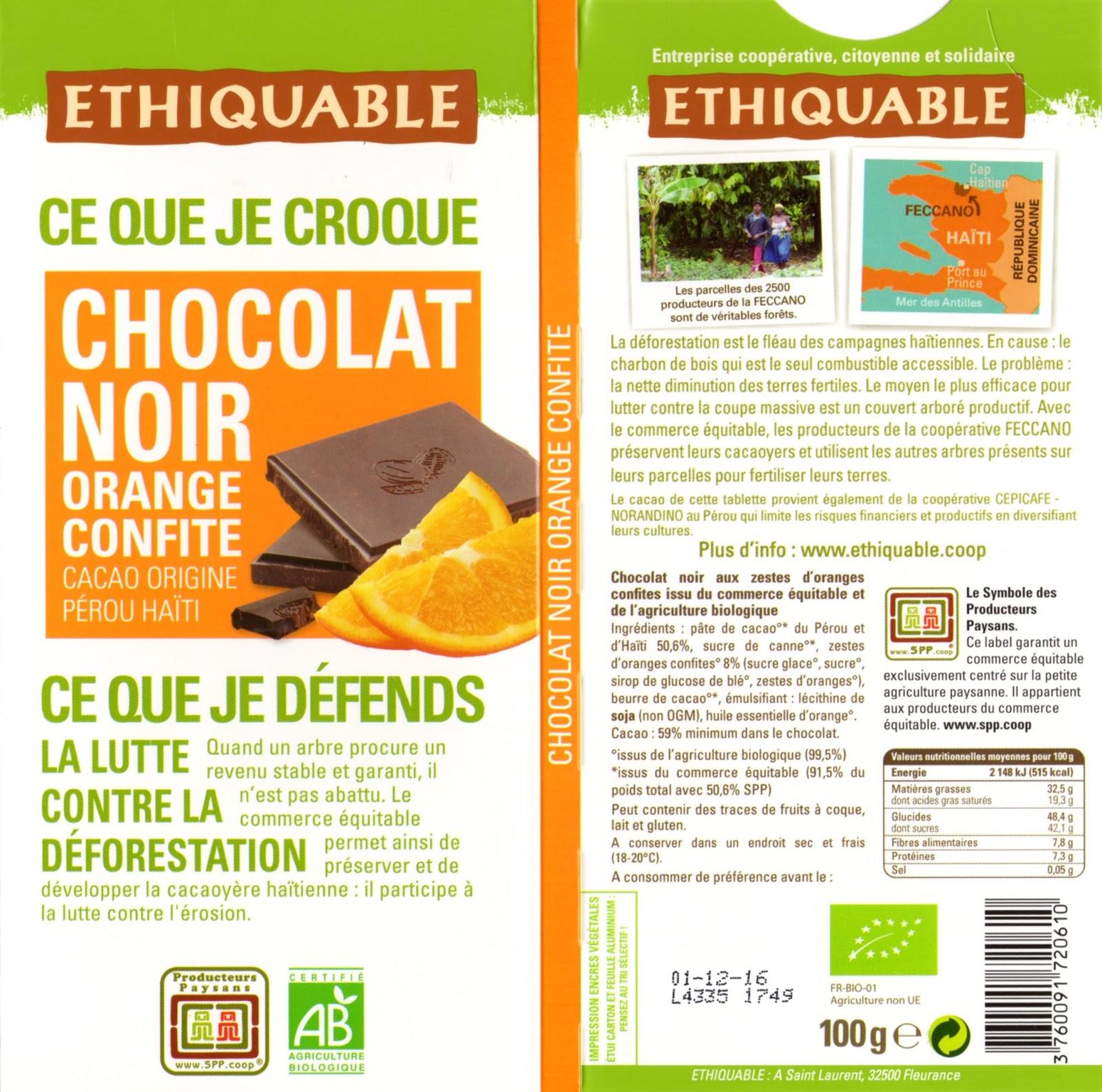 tablette de chocolat noir gourmand ethiquable pérou haïti noir orange confite