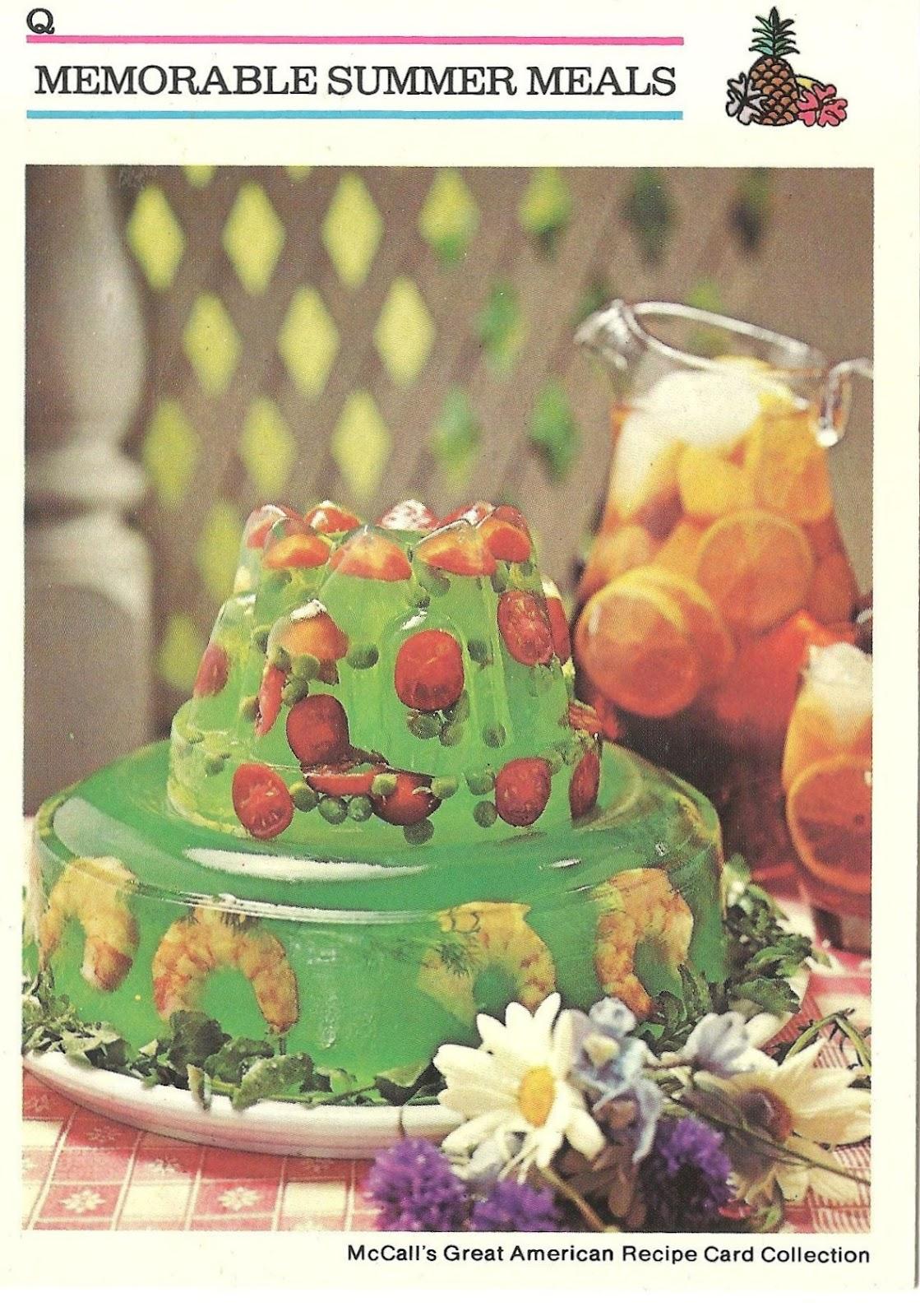 Fruit, tomaatjes en garnalen, in gelatine