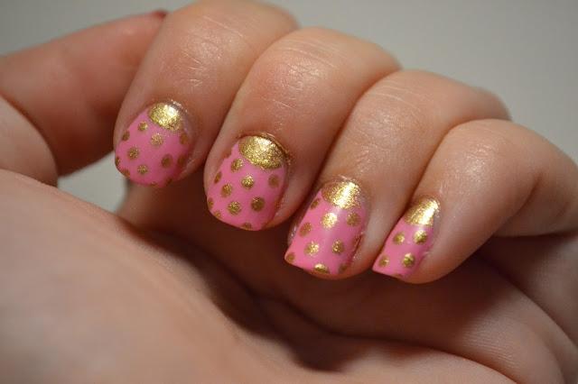 Golden polkadot Half Moon Nails